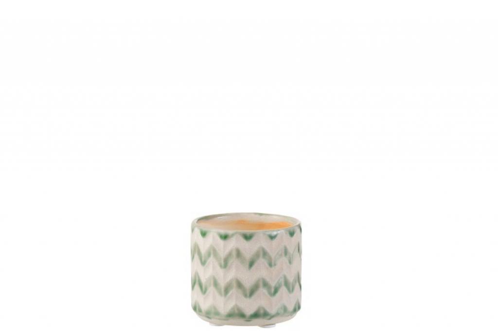 Produktové foto J-Line by Jolipa Keramický zeleno krémový květináč se vzorem zigzag - 8*8*7 cm
