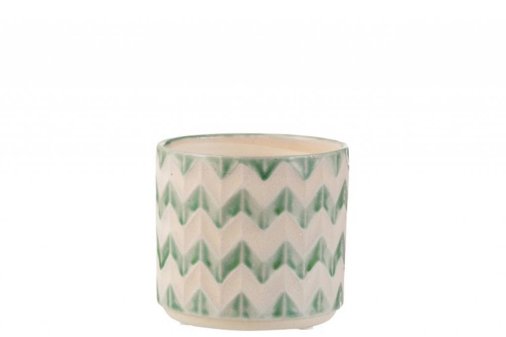 Produktové foto J-Line by Jolipa Keramický zeleno krémový květináč se vzorem zigzag - 14*14*12,5 cm