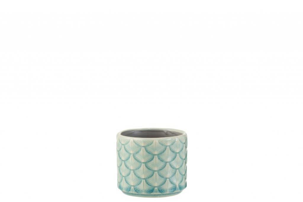 Produktové foto J-Line by Jolipa Zeleno modrý keramický květináč malý  - 8*8*7 cm