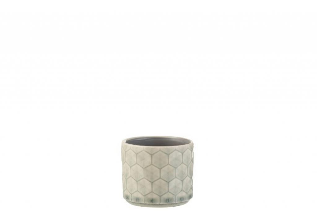 Produktové foto J-Line by Jolipa Malý šedo zelený keramický květináč se vzorem - 8*8*7 cm