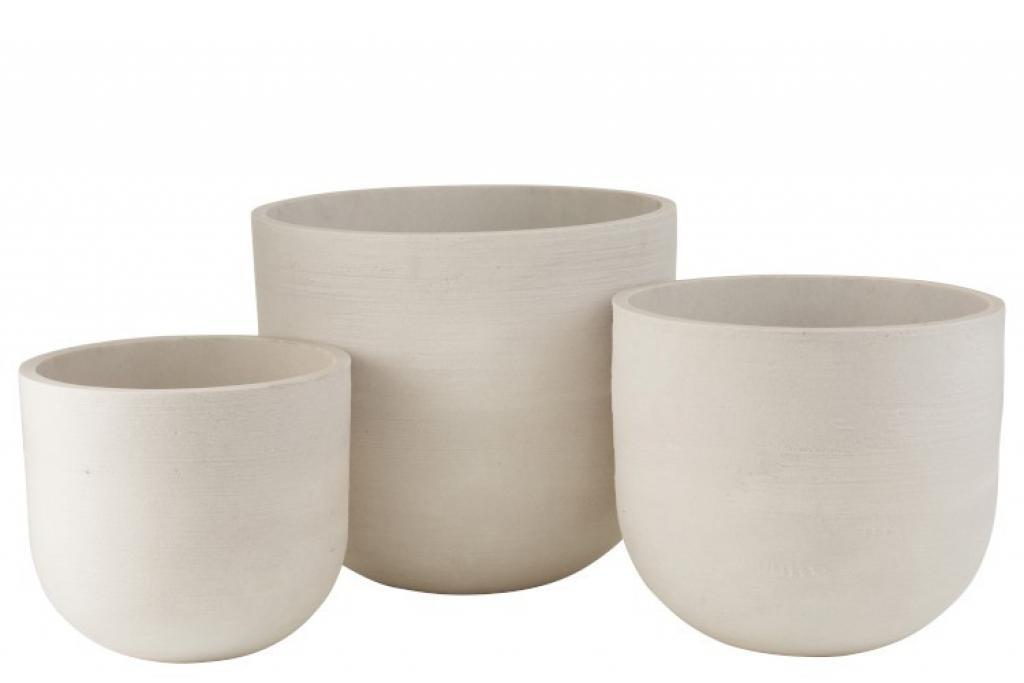 Produktové foto J-Line by Jolipa Sada třech bílých keramických květináčů - 51,5*51,5*46 cm