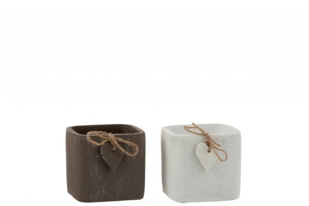 Produktové foto J-Line by Jolipa Dva betonové květináče hnědý a bílý se srdíčkem - 11*11*10 cm