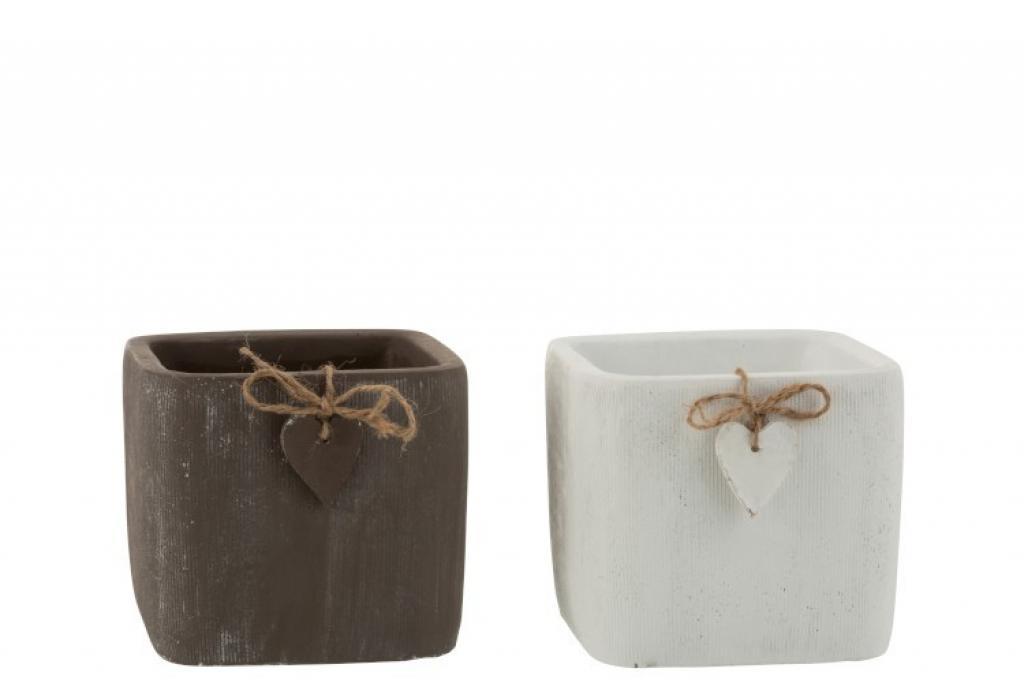Produktové foto J-Line by Jolipa Dva betonové květináče hnědý a bílý se srdíčkem  - 14,5*14,5*13 cm