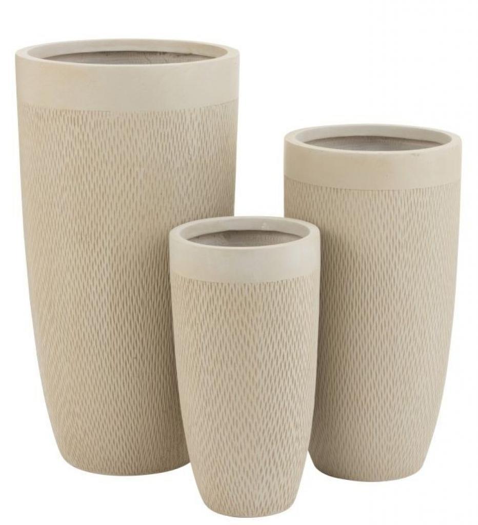 Produktové foto J-Line by Jolipa Set 3ks béžových váz Clay - Ø 38*72 cm