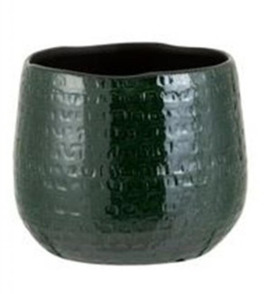 Produktové foto J-Line by Jolipa Tmavě zelený vzorovaný obal na květináč Seraphine M - 18*18*18,5 cm