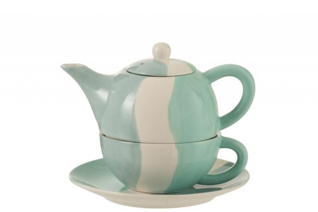 Produktové foto J-Line by Jolipa Porcelánová čajová konvička se šálkem Wave - 19,5*18,2*16,5 cm