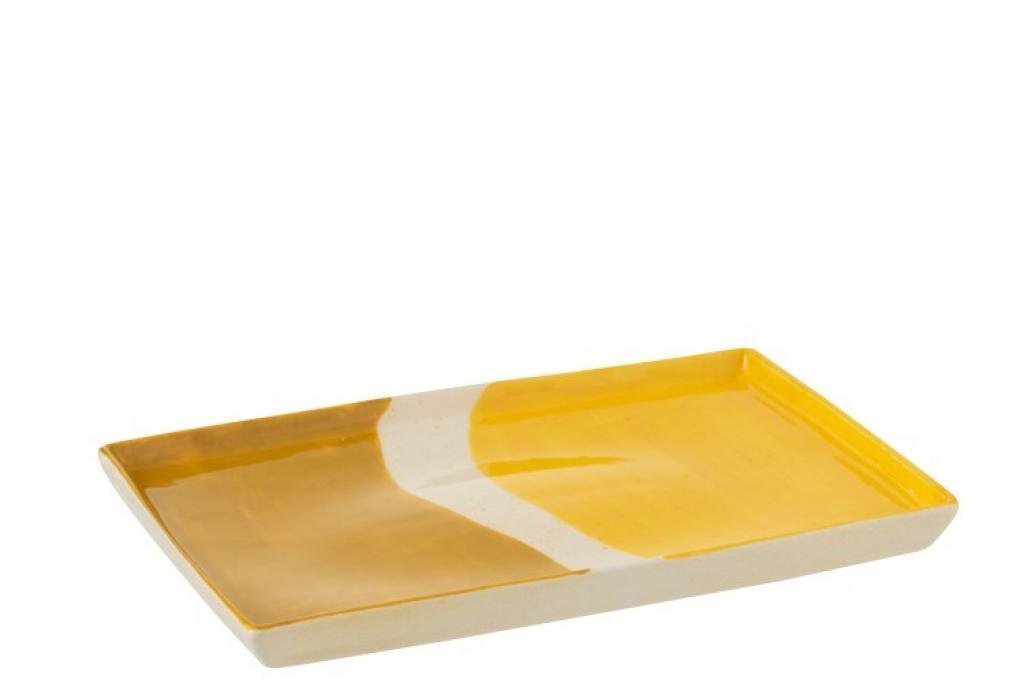 Produktové foto J-Line by Jolipa Porcelánový obdélníkový talíř Wave v odstínech žluté - 26*17,5*2 cm
