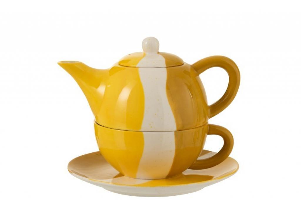 Produktové foto J-Line by Jolipa Porcelánová konvička na čaj se šálkem Wave v odstínech žluté - 20*18,5*16 cm