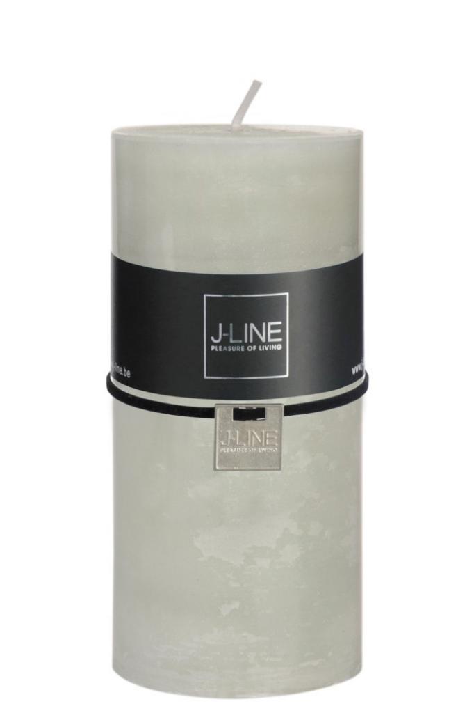 Produktové foto J-Line by Jolipa Zelená nevonná svíčka L válec -  Ø 7*15 cm/72H