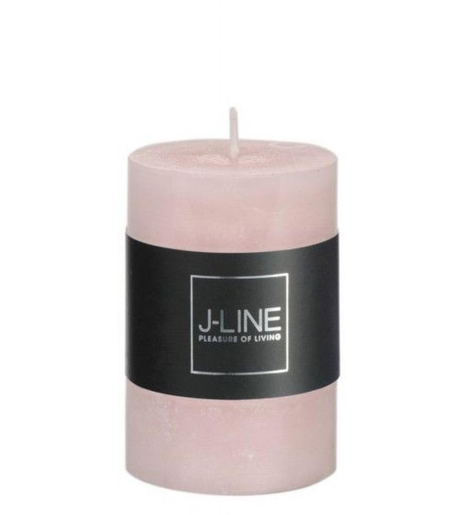 Produktové foto J-Line by Jolipa Růžová nevonná svíčka válec S - Ø  5*7,5 cm/18H