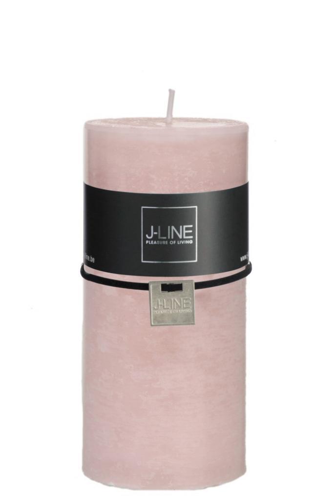 Produktové foto J-Line by Jolipa Růžová nevonná svíčka válec L -Ø  - 7*15 cm72H