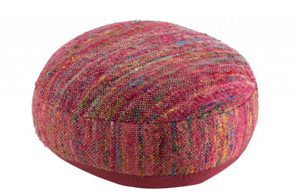 Produktové foto J-Line by Jolipa Tmavě růžový puf prošitý barevnými nitěmi Getane - 54,5*50*24 cm