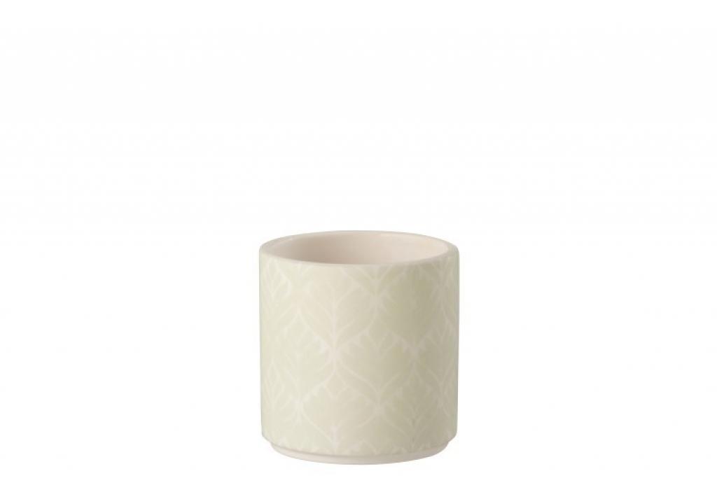 Produktové foto J-Line by Jolipa Krémový keramický květináč se světle zelenými listy- malý- L - 10*10*10 cm