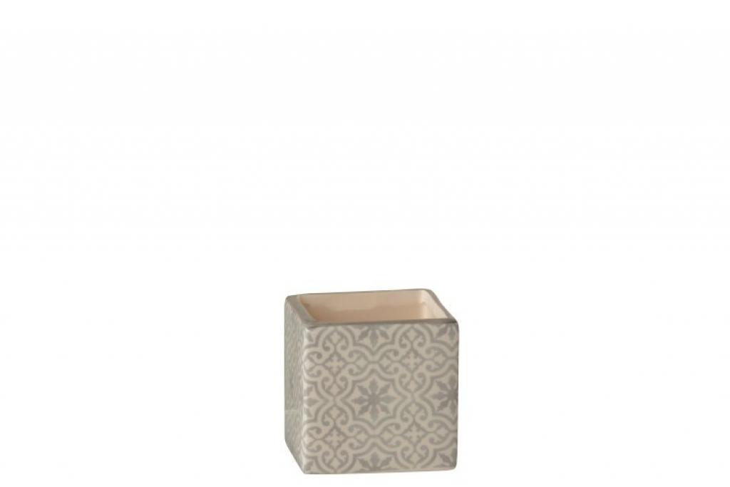 Produktové foto J-Line by Jolipa Šedo bílý keramický květináč menší  - 7,5*7,5*8 cm