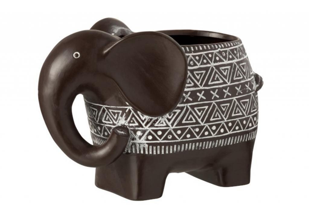Produktové foto J-Line by Jolipa Hnědý terracottový květináč slon - 21,5*11*17 cm