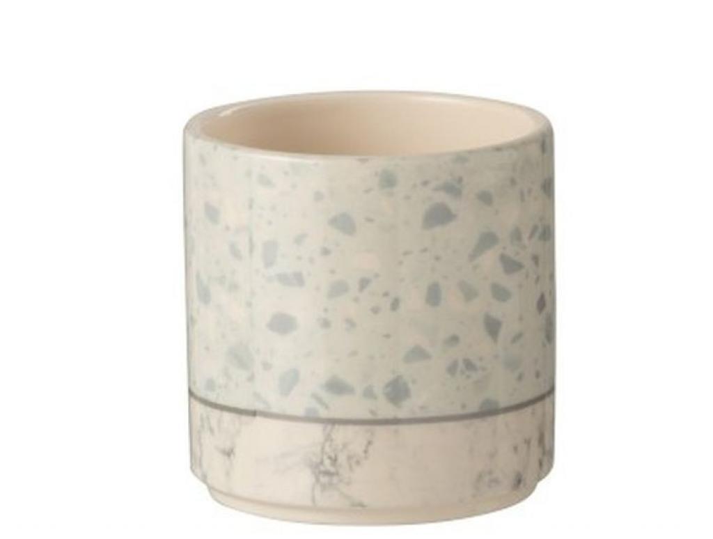 Produktové foto J-Line by Jolipa Šedo-modrý keramický obal na květináč Terazzo - Ø10*10 cm