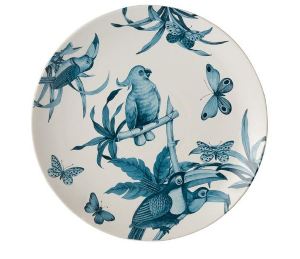 Produktové foto J-Line by Jolipa Modro-bílý keramický talíř Birds - Ø 35 cm