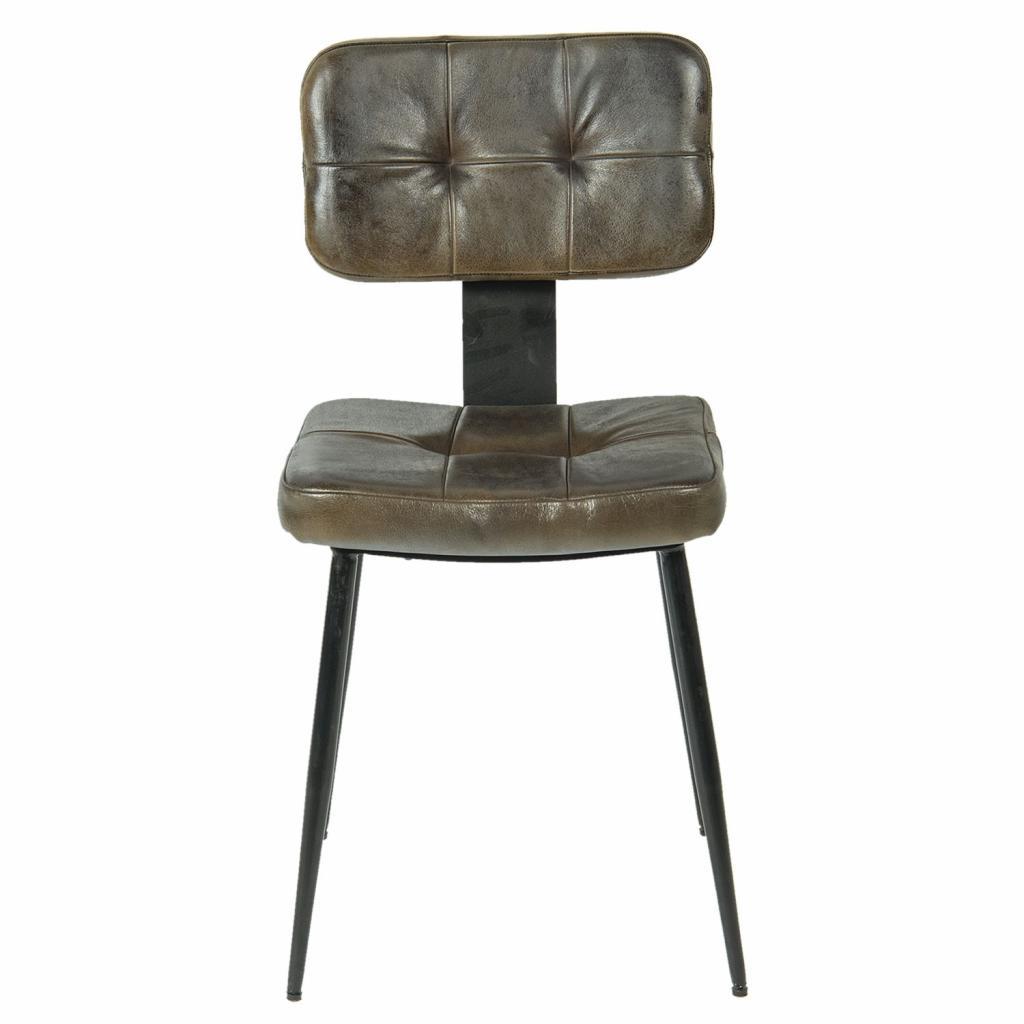 Produktové foto Clayre & Eef Židle s koženým sedákem a kovovou konstrukcí Alienor - 43*46*84 cm