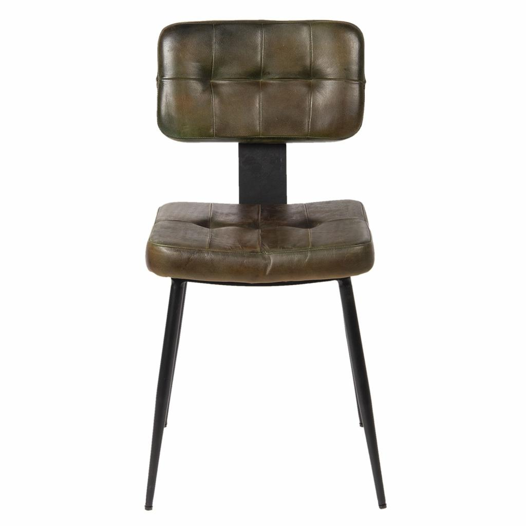 Produktové foto Clayre & Eef Jídelní hnědá židle se sedákem z kůže Alienor - 43*46*84 cm