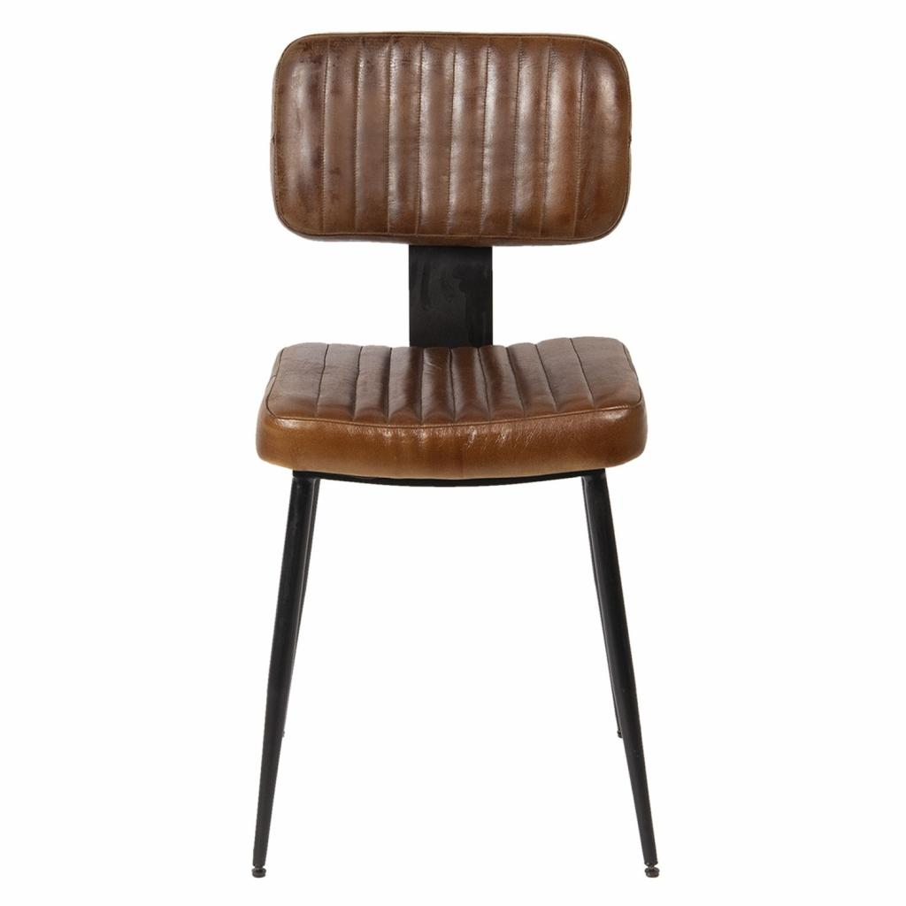 Produktové foto Clayre & Eef Hnědá židle Alienor s černou kovovu konstrukcí - 43*46*84 cm