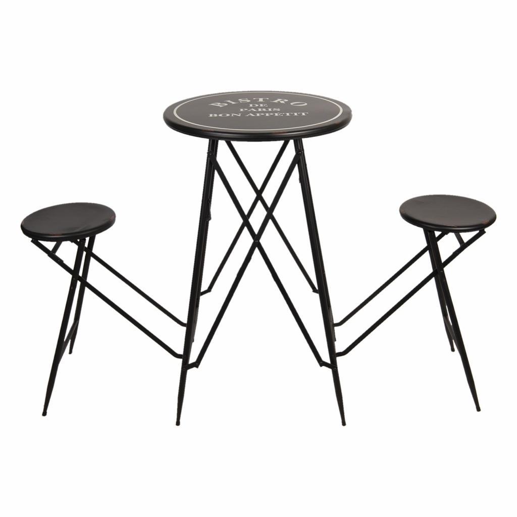 Produktové foto Clayre & Eef Set bistro stolku s židlemi Bistro De Paris - Ø 61*101 cm