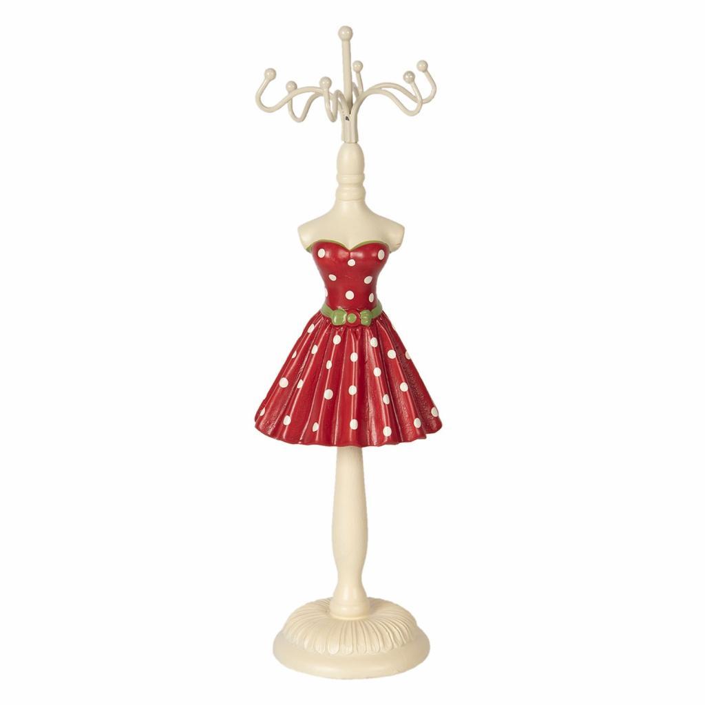 Produktové foto Clayre & Eef Stojánek na šperky červené puntíkaté šaty - Ø 6*23 cm