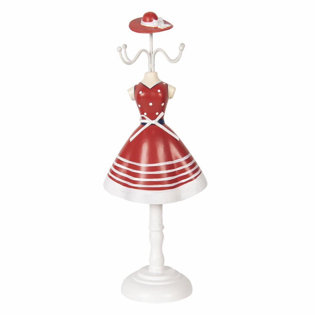 Produktové foto Clayre & Eef Stojánek na šperky v designu šatů s kloboukem Robe - 12*8*32 cm