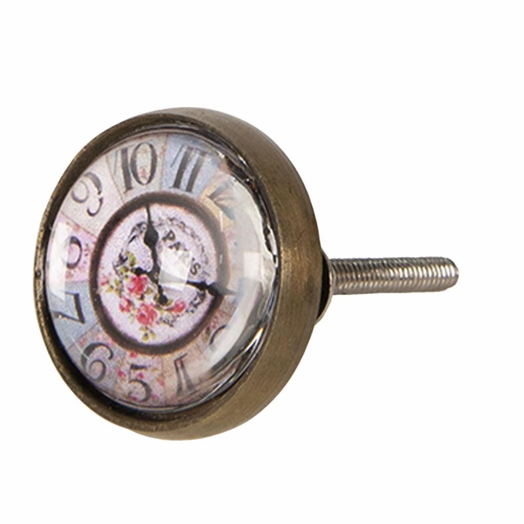 Produktové foto Clayre & Eef Kovovo-skleněná úchytka s designem hodin Paris – Ø 3*4 cm