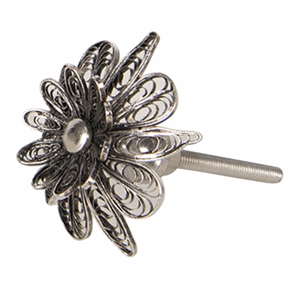 Produktové foto Clayre & Eef Nábytková kovová úchytka ve tvaru květiny Ornement – Ø 4*4 cm