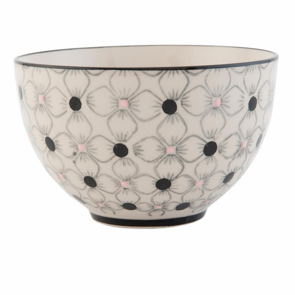Produktové foto Clayre & Eef Porcelánová miska s květy - Ø 12*8 cm / 0,3L