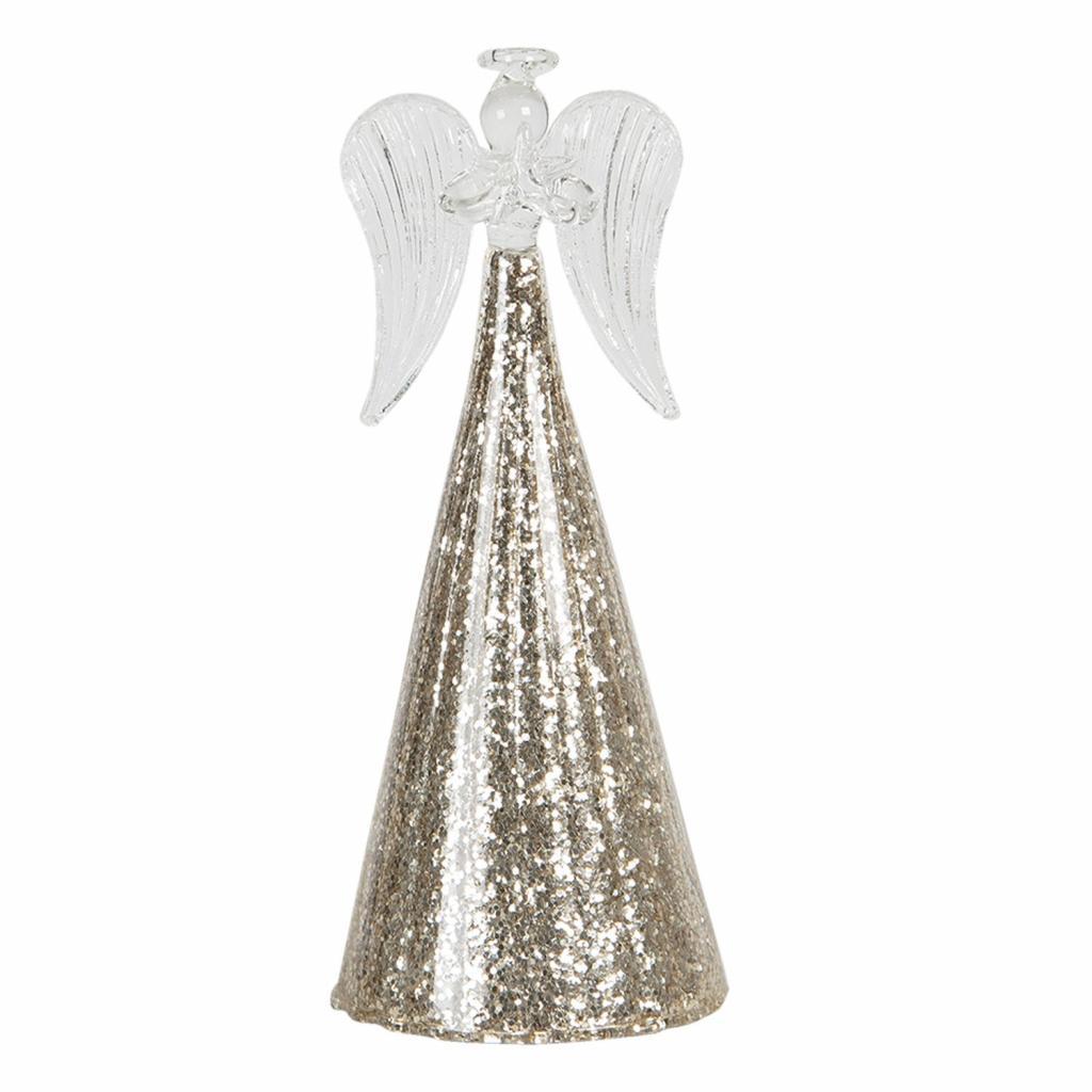 Produktové foto Clayre & Eef Dekorační skleněný anděl s třpytivým podstavcem Léonne – Ø 8*18 cm