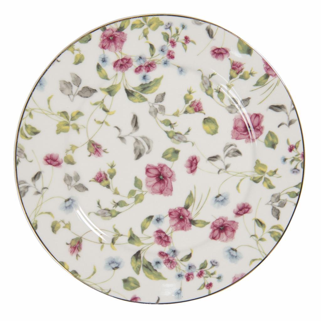 Produktové foto Clayre & Eef Porcelánový talíř Pre Fleuri – Ø 21*2 cm