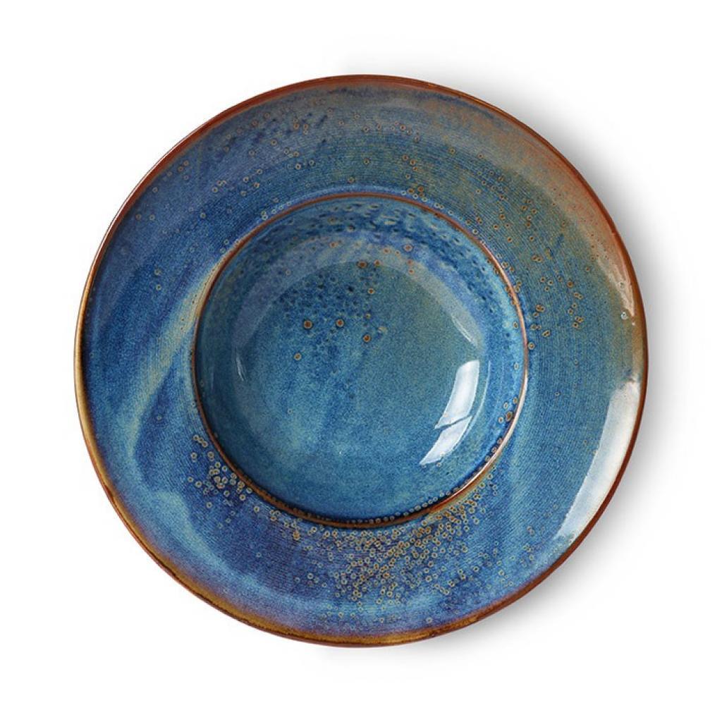 Produktové foto HKLIVING Rustikálně modrý keramický talíř na těstoviny Pasta Chef - Ø 28,5*6cm