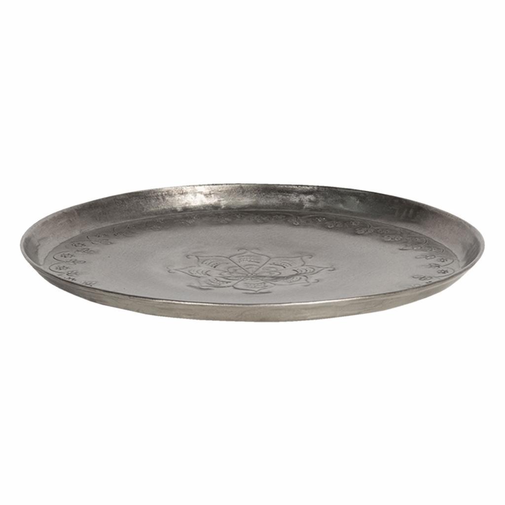Produktové foto Clayre & Eef Stříbrný antik talíř s vyrytými ornamenty - Ø 21*2 cm