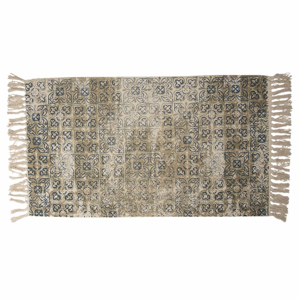 Produktové foto Clayre & Eef Vintage bavlněný koberec s květinovými motivy a třásněmi- 70*120 cm