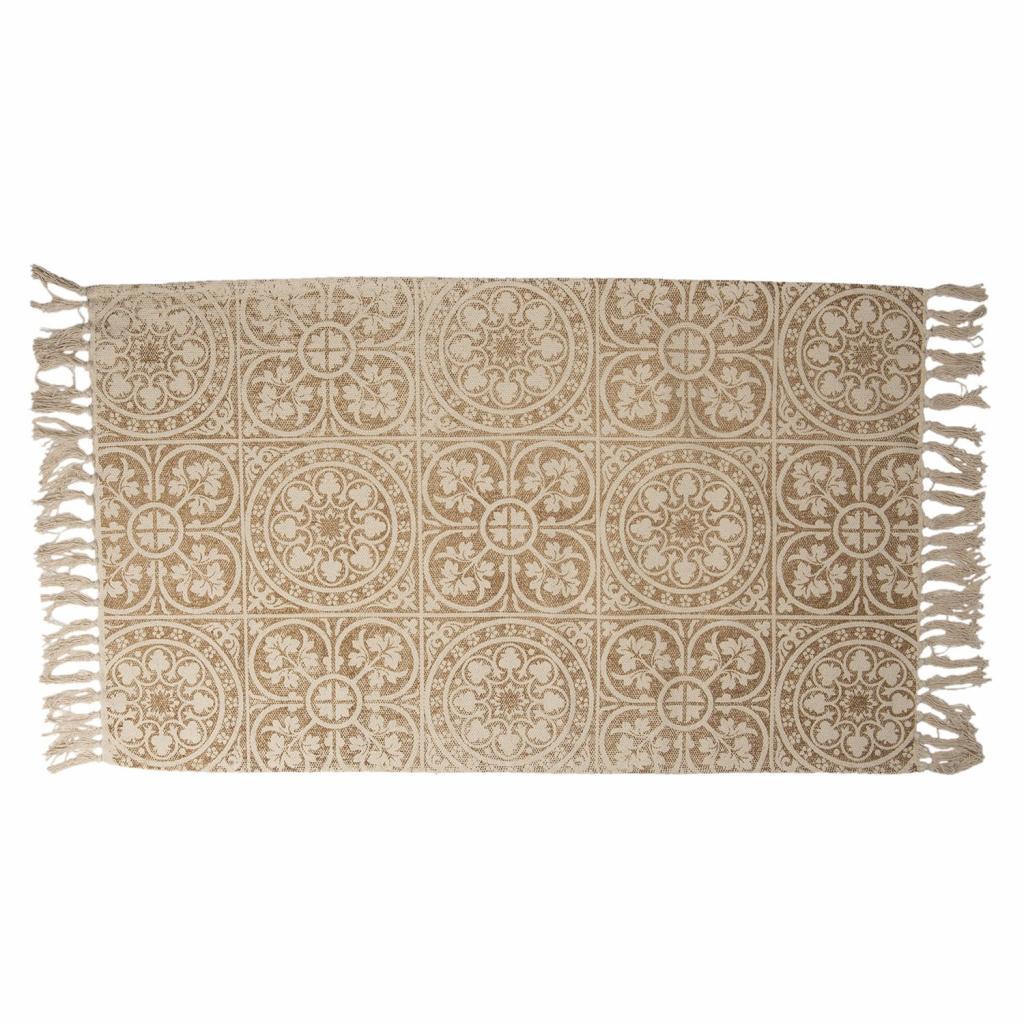 Produktové foto Clayre & Eef Béžový bavlněný koberec s ornamenty a třásněmi - 70*120 cm