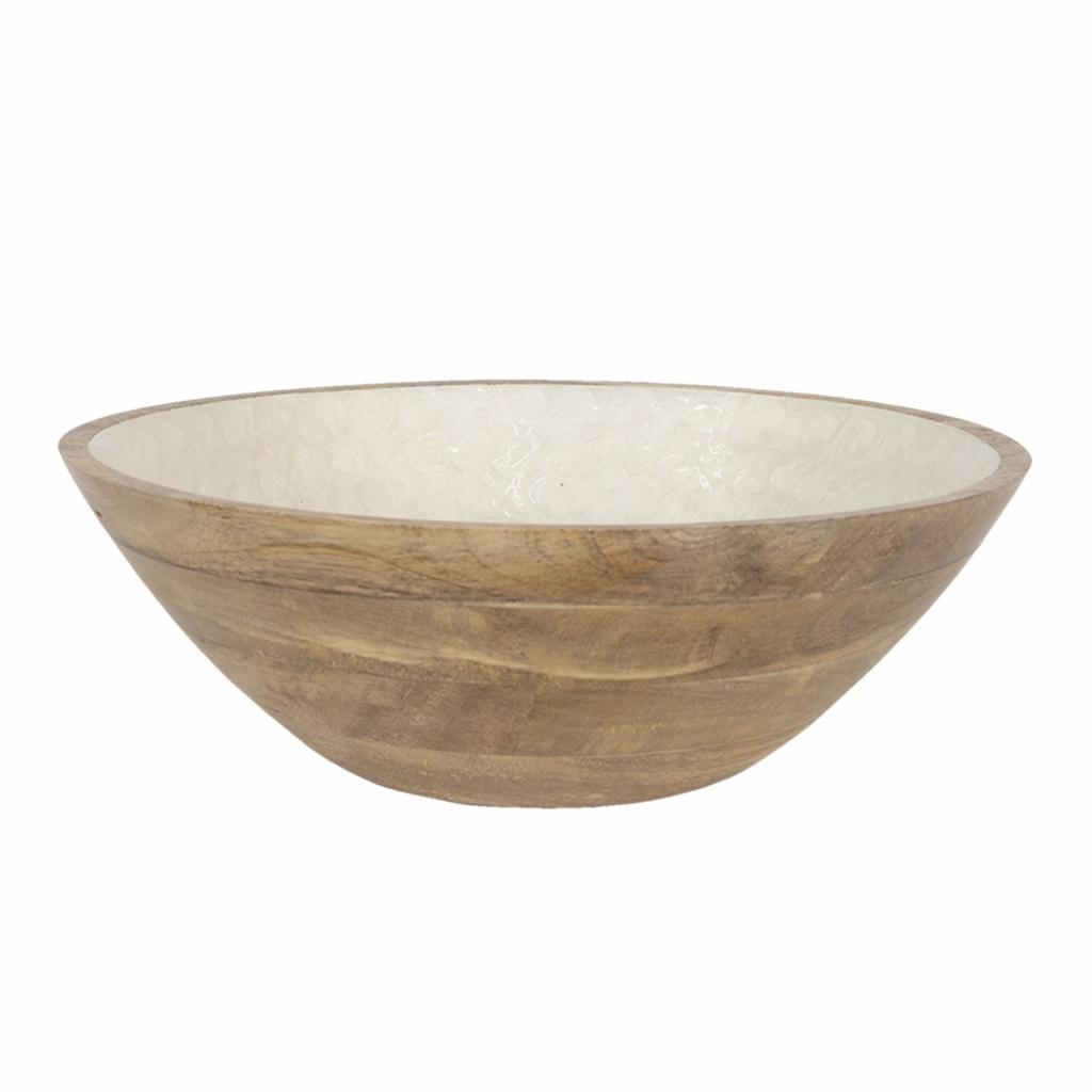 Produktové foto Clayre & Eef Dřevěná mísa s perleťovým vnitřkem Penoi - Ø 33*11 cm