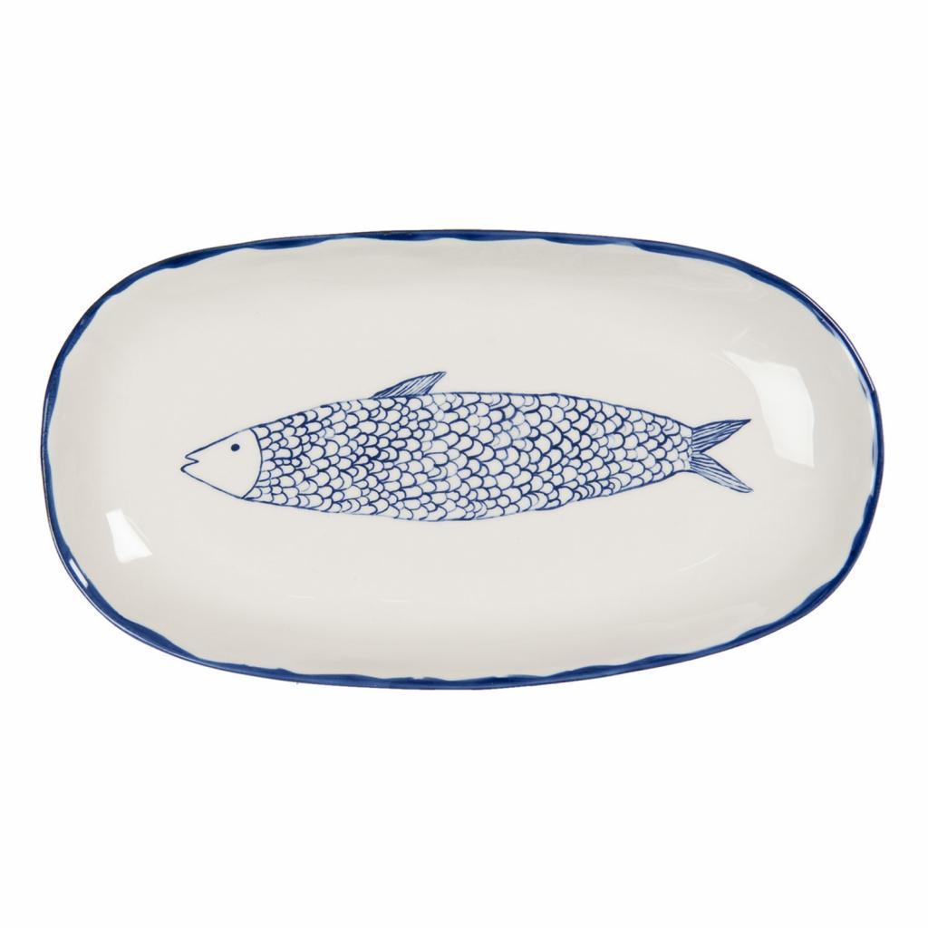 Produktové foto Clayre & Eef Keramický servírovací talíř s modrým dekorem ryby Atalante - 30*16*3 cm