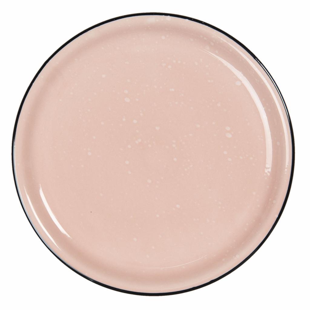 Produktové foto Clayre & Eef Růžový keramický talíř s kaňkami Printemps – Ø 22*3 cm