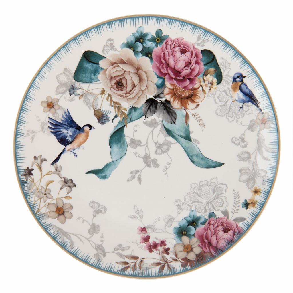 Produktové foto Clayre & Eef Dezertní talířek  s motivem květin a ptáčka Pivoine - Ø 20*2 cm