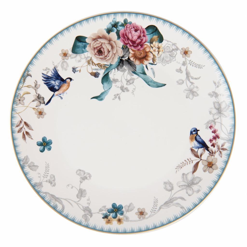 Produktové foto Clayre & Eef Jídelní talíř s motivem květin a ptáčka Pivoine - Ø 26*2 cm