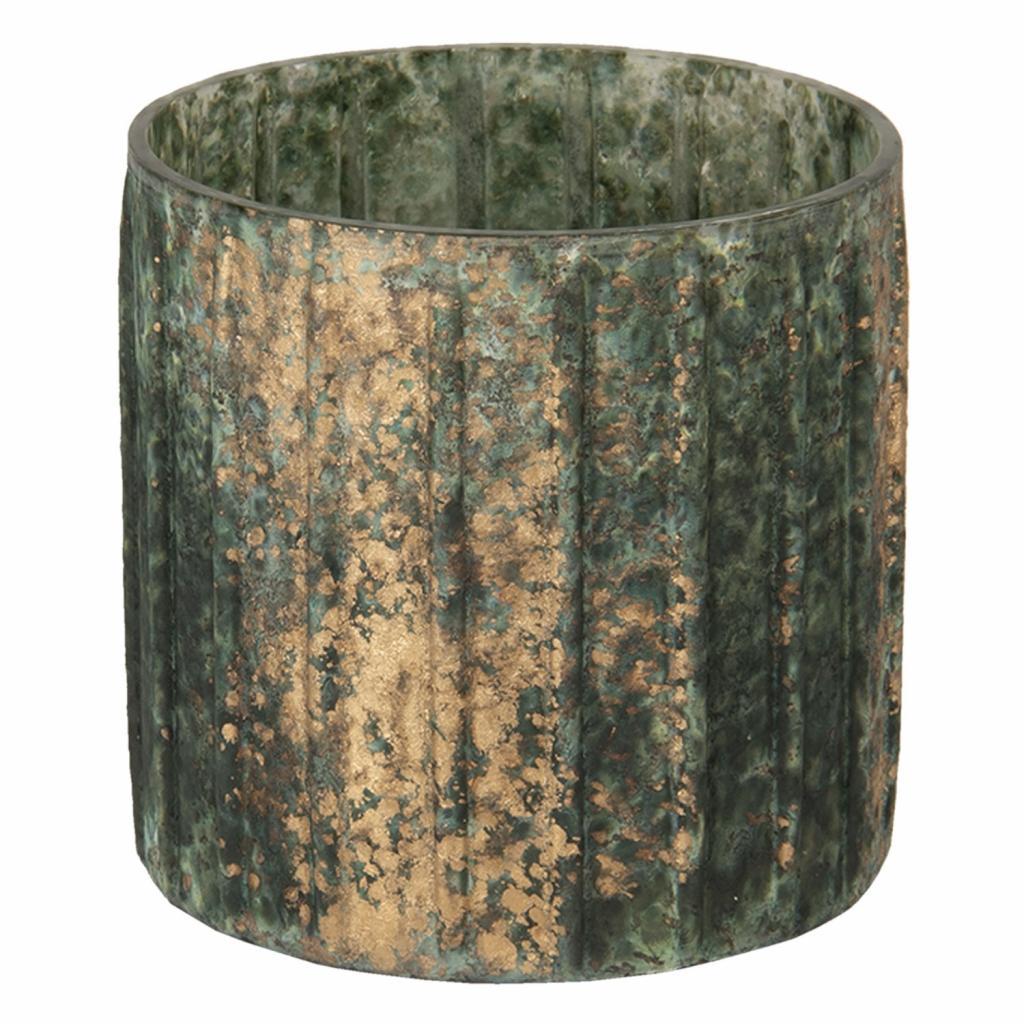 Produktové foto Clayre & Eef Tmavě šedivý svícen s bronzovou patinou - 10*10 cm
