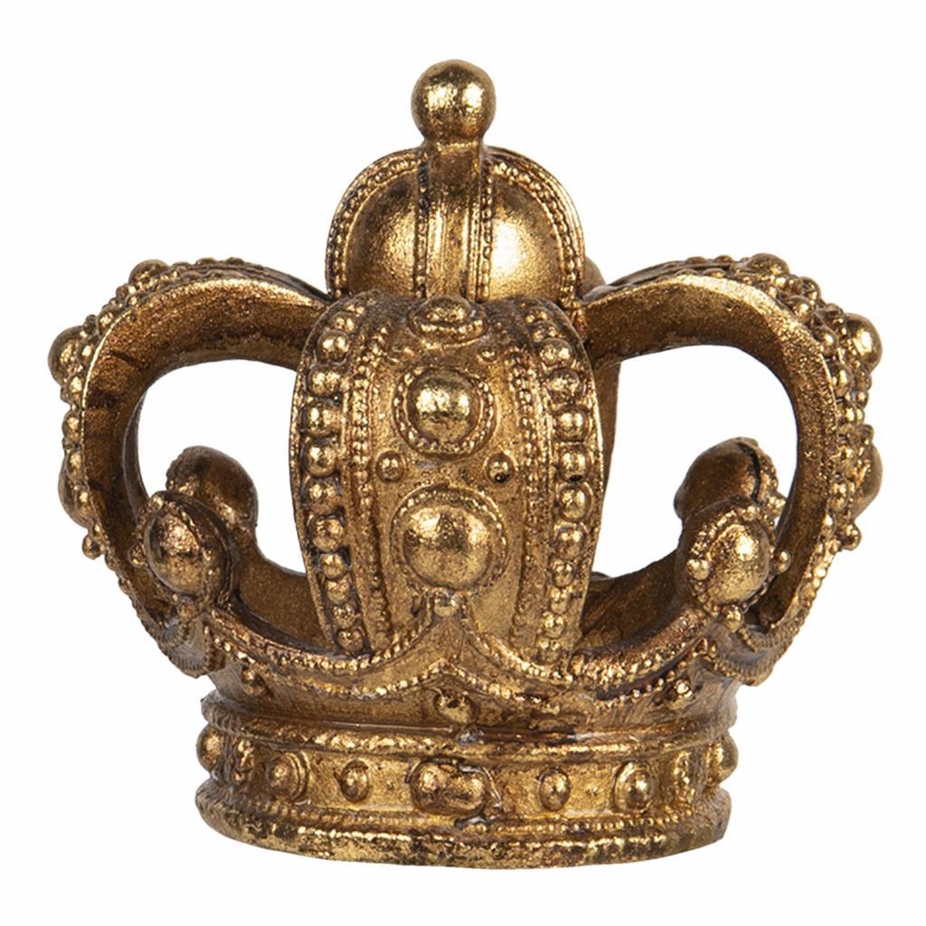 Produktové foto Clayre & Eef Zlatý svícen s patinou ve tvaru koruny na čajovou svíčku - 8*7 cm
