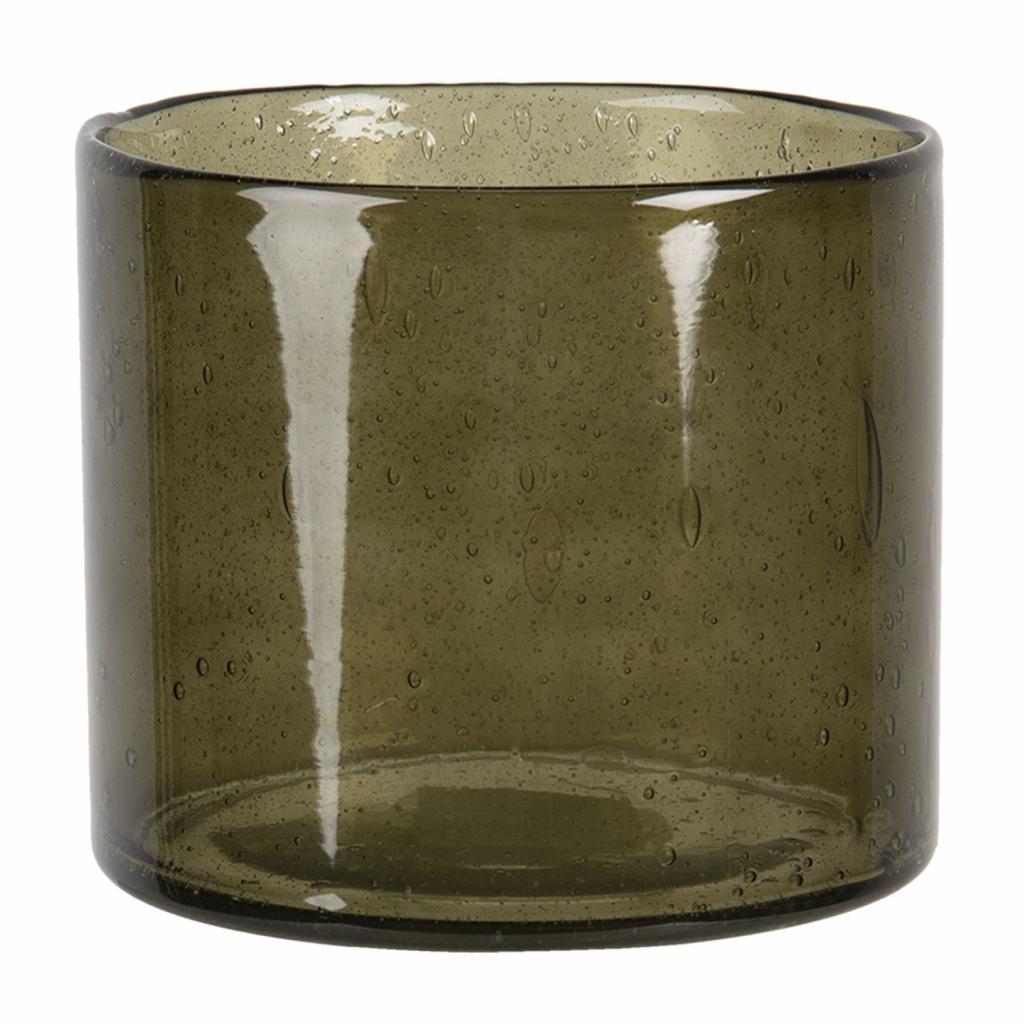 Produktové foto Clayre & Eef Hnědý skleněný svícen na čajovou svíčku - 13*15 cm