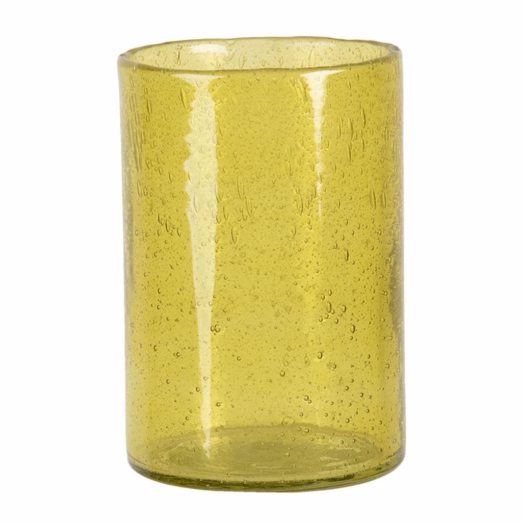 Produktové foto Clayre & Eef Žlutý skleněný svícen na čajovou svíčku - 15*10 cm