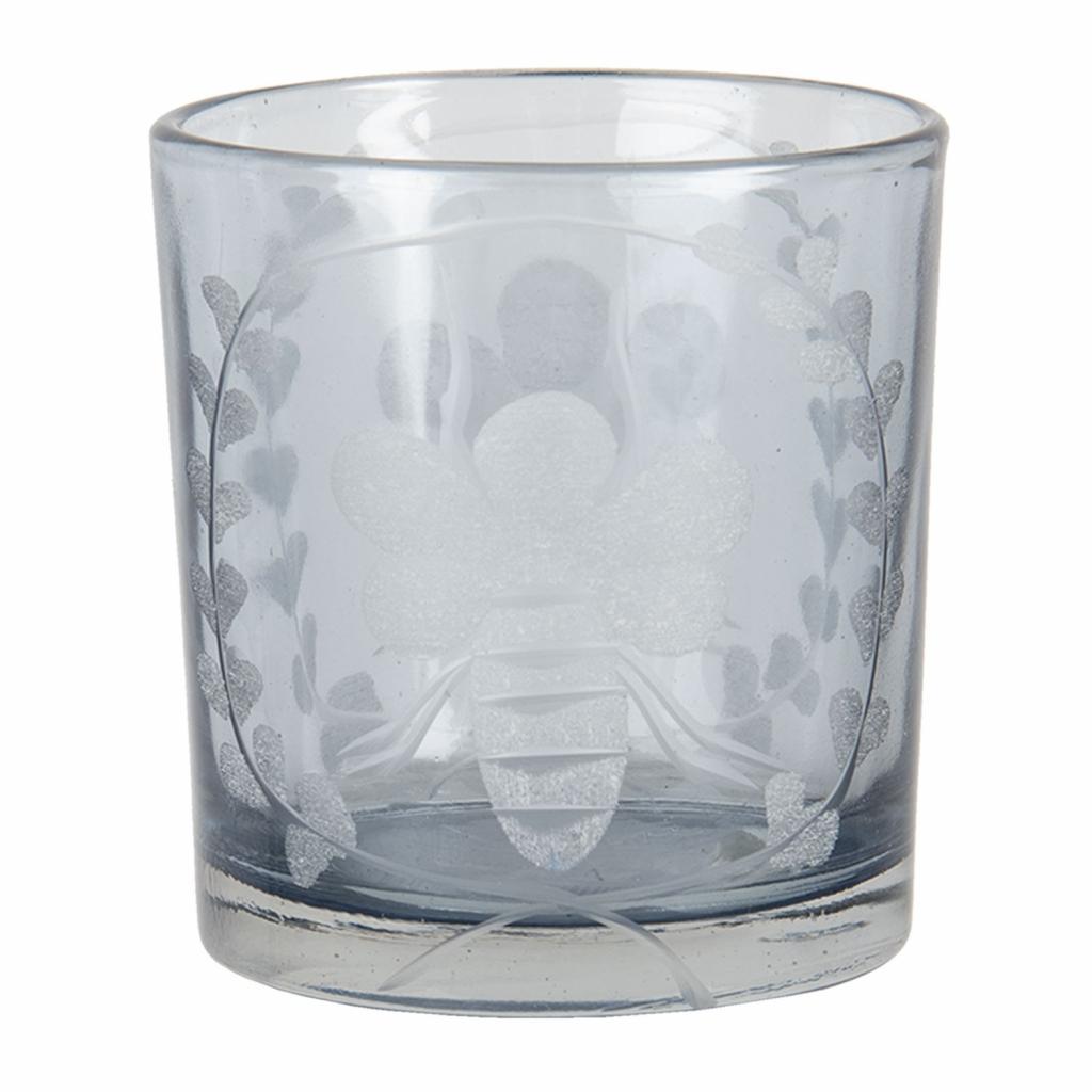 Produktové foto Clayre & Eef Skleněný svícen na čajovou svíčku s motivem včely - 7*8 cm