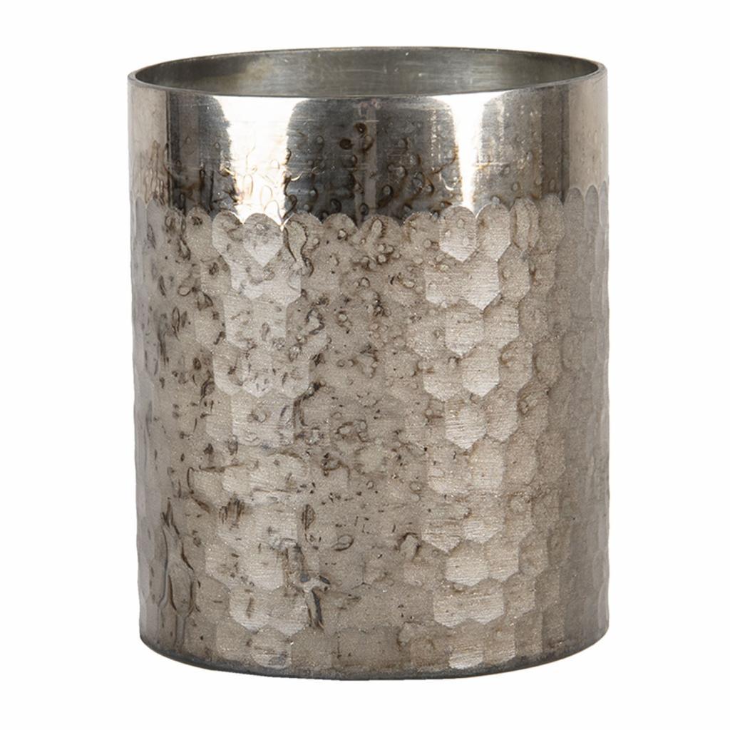 Produktové foto Clayre & Eef Stříbrný opracovaný svícen na čajovou svíčku - 11*13 cm