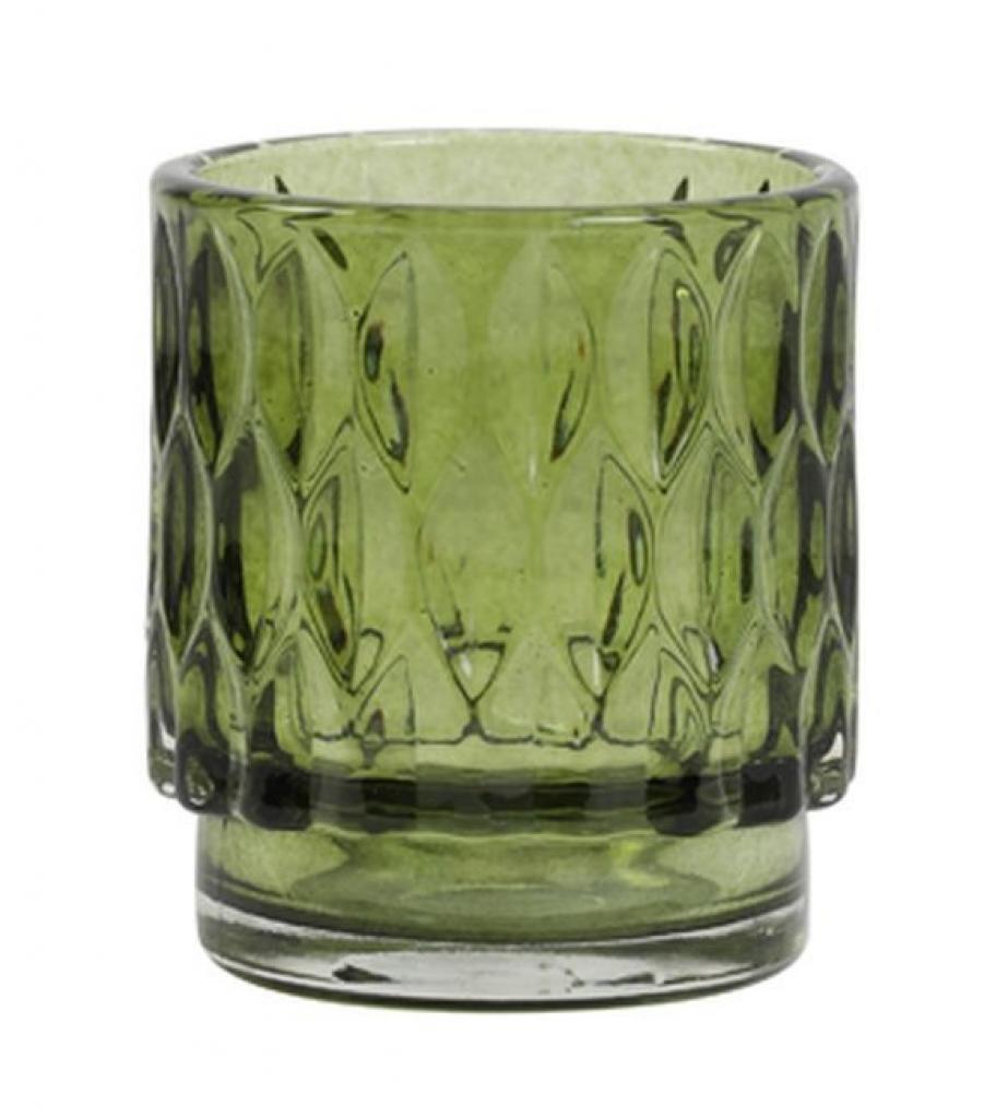 Produktové foto Light & Living Olivově zelený skleněný svícen Grace - Ø 7*8 cm