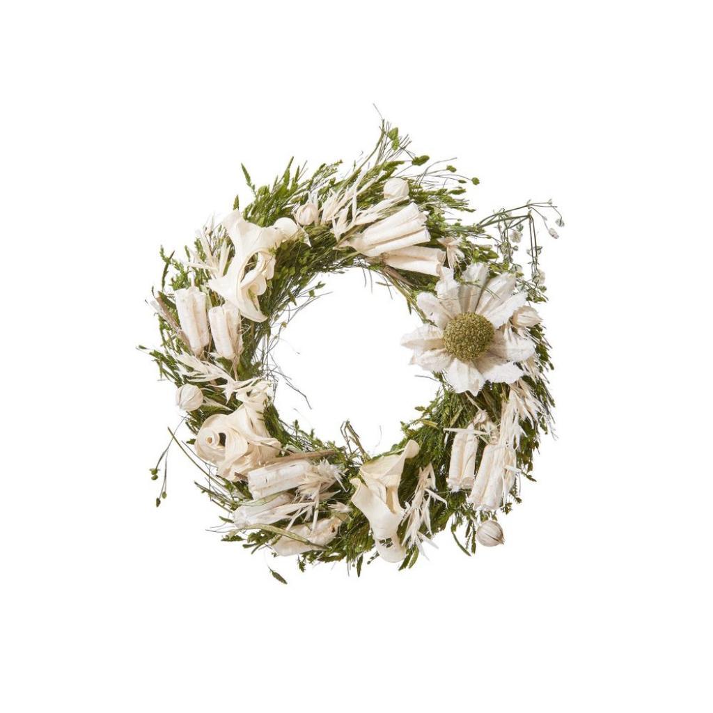 Produktové foto FLOWER MARKET Mini věnec ze sušených květin 12 cm - bílá