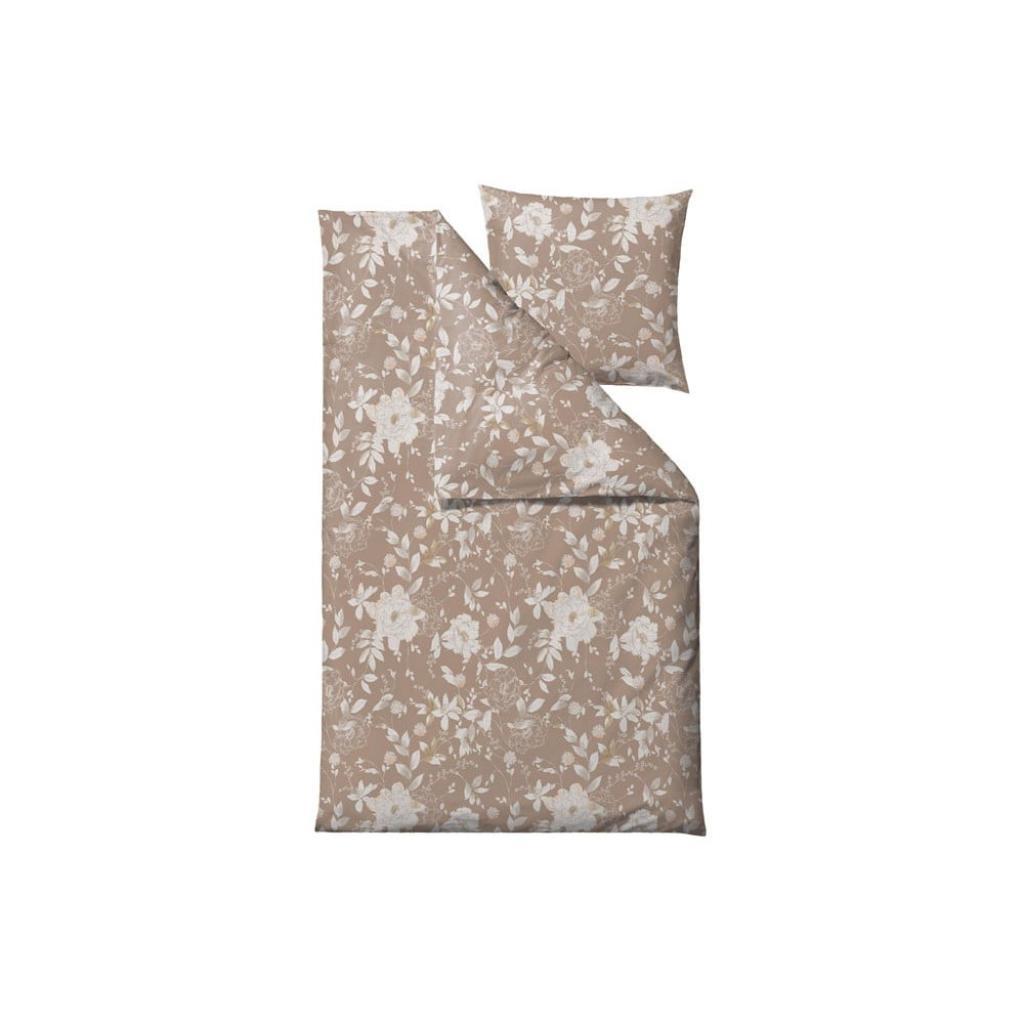 Produktové foto Béžové povlečení na jednolůžko z bavlněného saténu Södahl Garden Bloom,140x220 cm